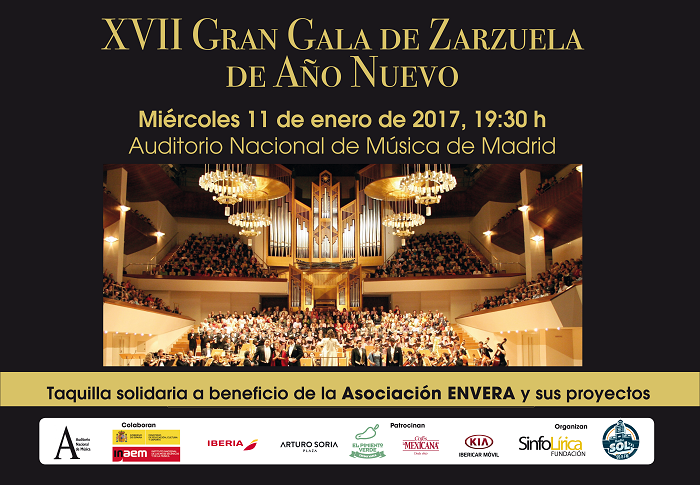 La Gran Gala de Zarzuela de Año Nuevo vuelve a unir música y solidaridad, a favor de Envera